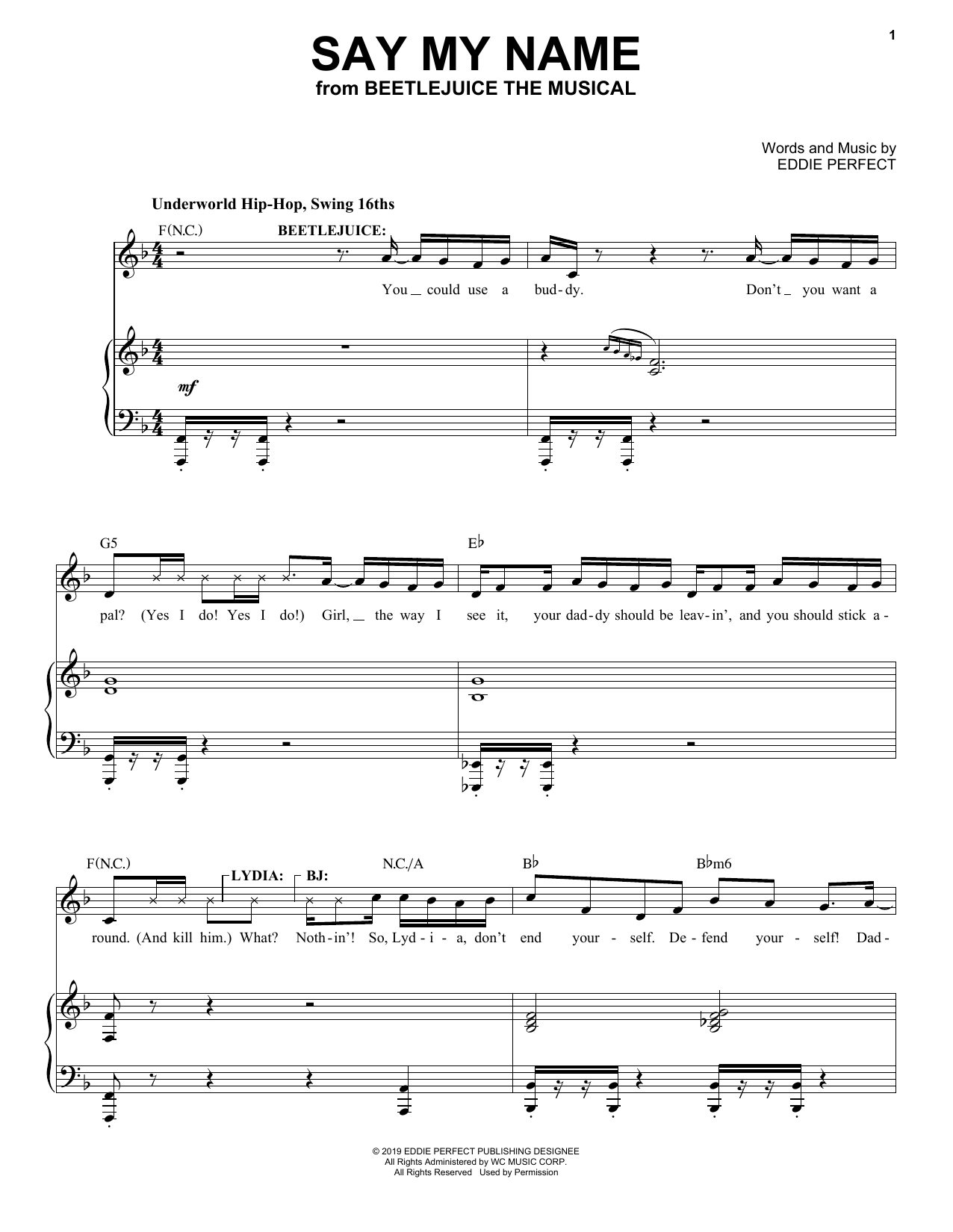 Say My Name from Beetlejuice The Musical Sheet Music   Eddie Perfect    Piano & Vocal