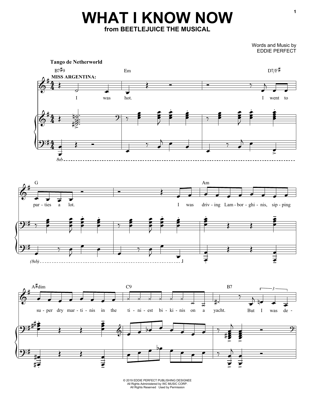 Eddie Perfect What I Know Now From Beetlejuice The Musical Sheet Music