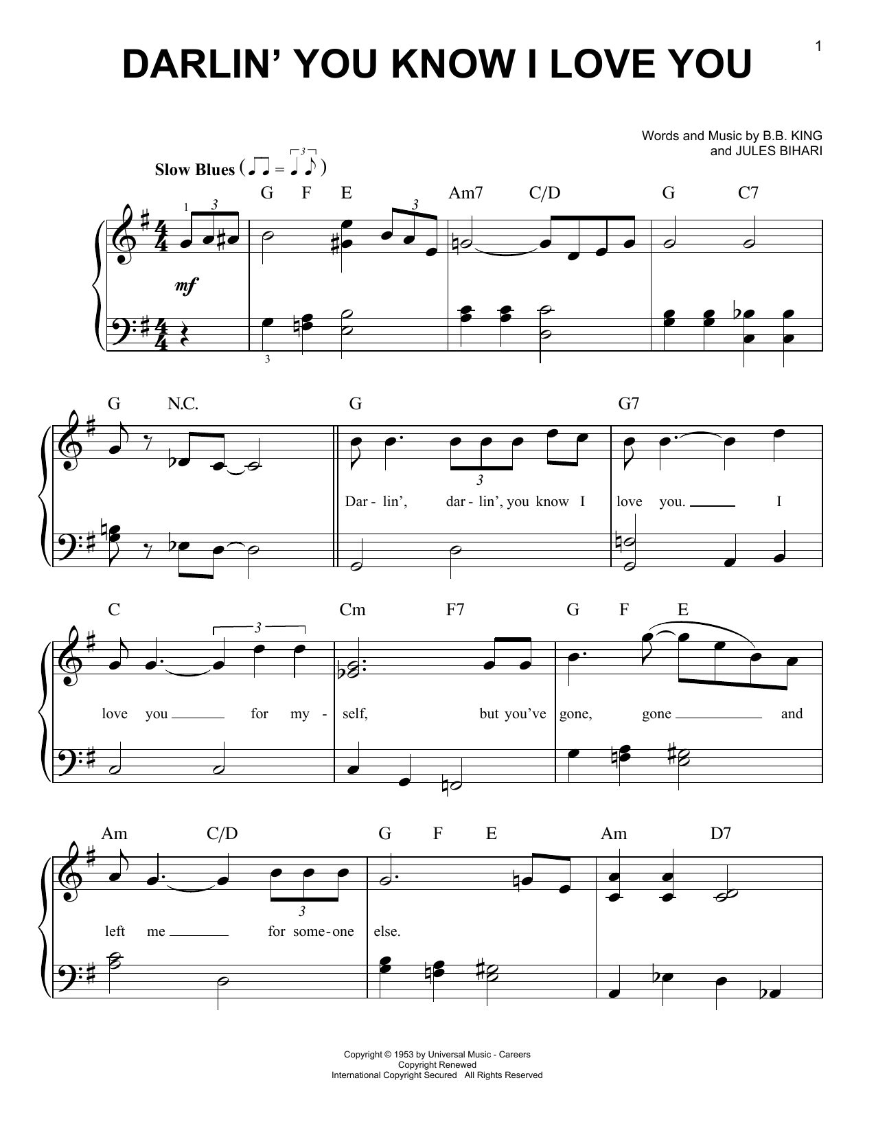 Darlin' You Know I Love You (Very Easy Piano)