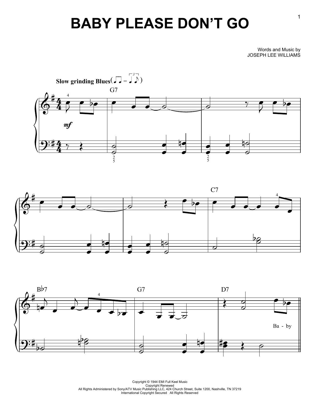 Baby Please Don't Go (Very Easy Piano)