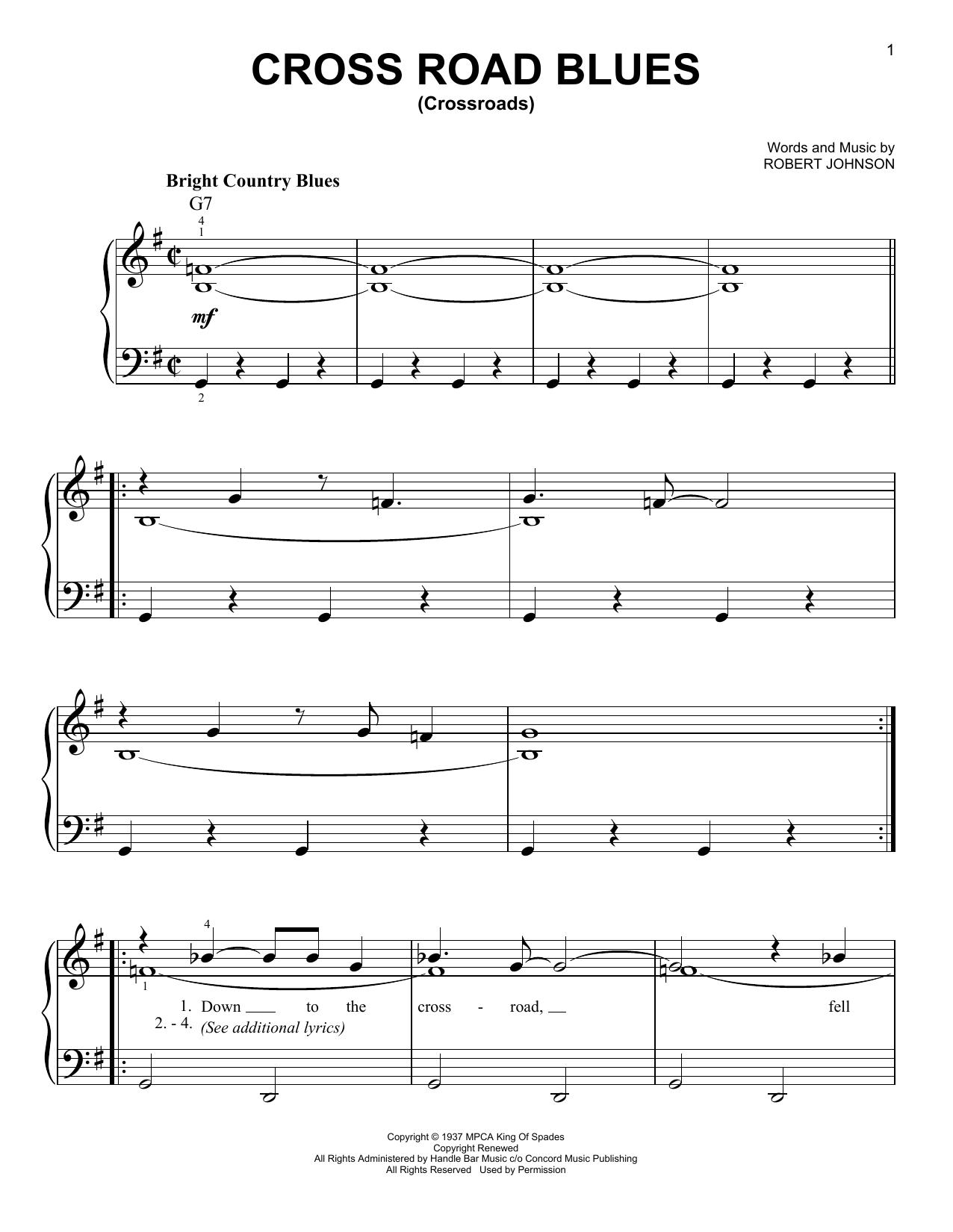 Cross Road Blues (Crossroads) (Very Easy Piano)