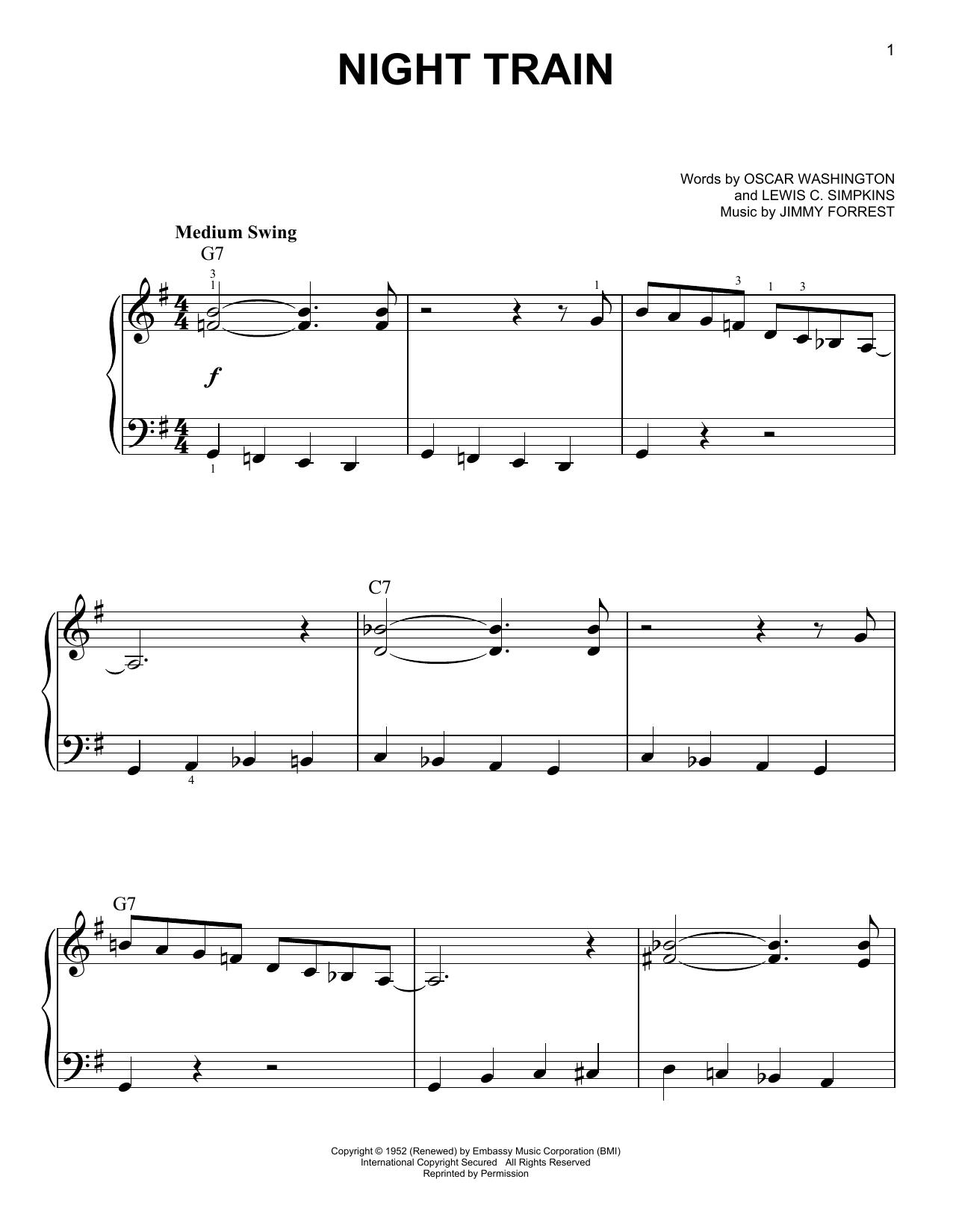 Night Train (Very Easy Piano)