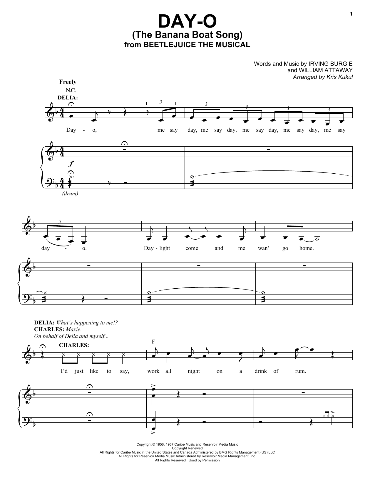 Day-O (The Banana Boat Song) (from Beetlejuice The Musical) (arr. Kris Kulul) (Piano & Vocal)