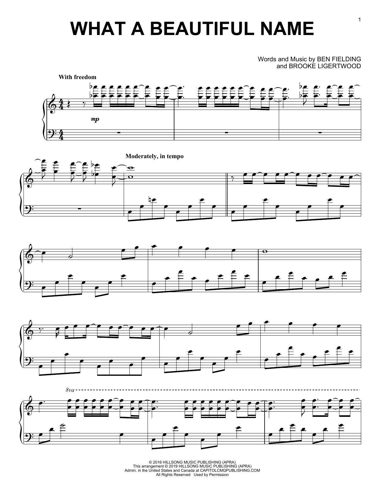 what a beautiful name sheet music   hillsong worship   piano solo  sheet music direct