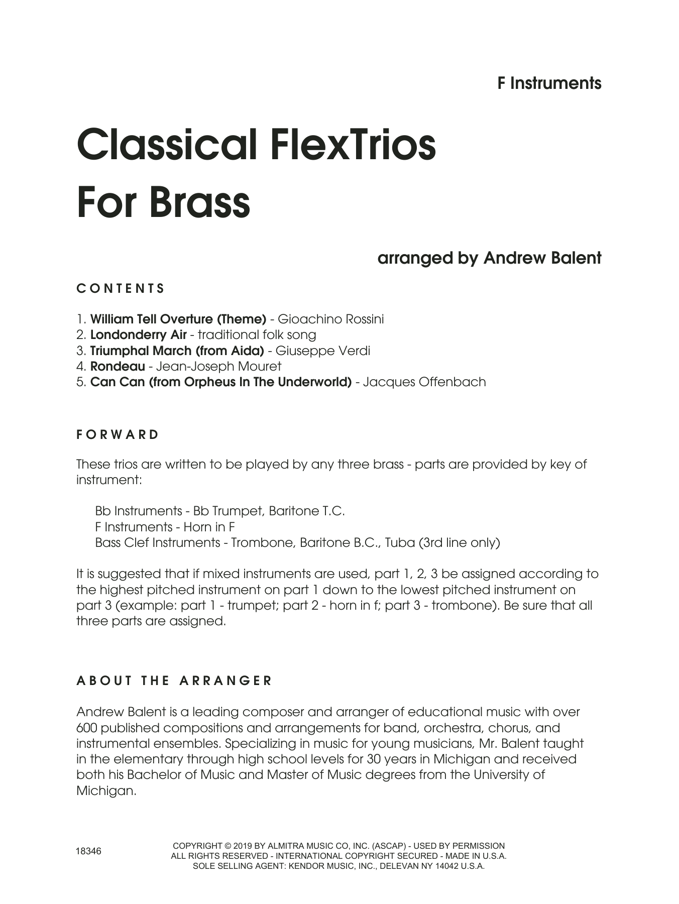 Classical Flextrios For Brass (arr. Andrew Balent) - Horn in F Sheet Music