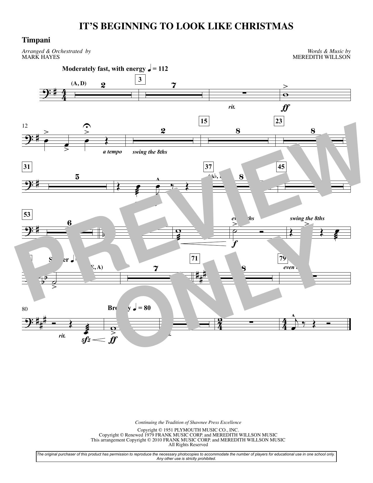It's Beginning To Look Like Christmas (arr. Mark Hayes) - Timpani (Choir Instrumental Pak)