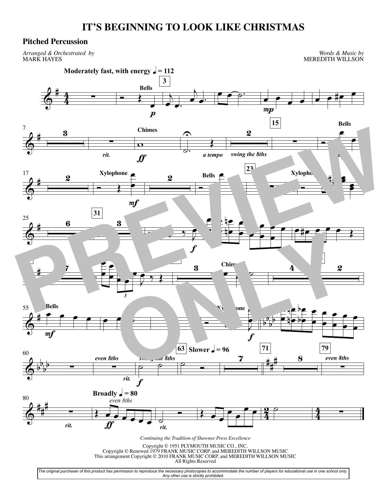 It's Beginning To Look Like Christmas (arr. Mark Hayes) - Mallets (Choir Instrumental Pak)