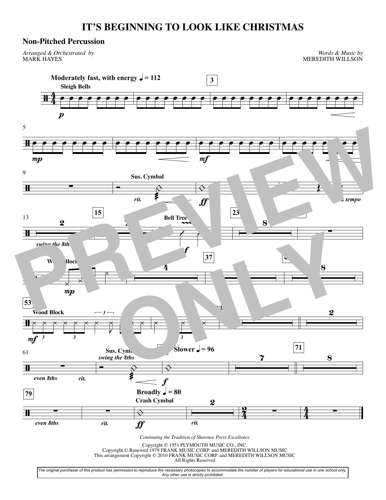 It's Beginning To Look Like Christmas (arr. Mark Hayes) - Percussion (Choir Instrumental Pak)