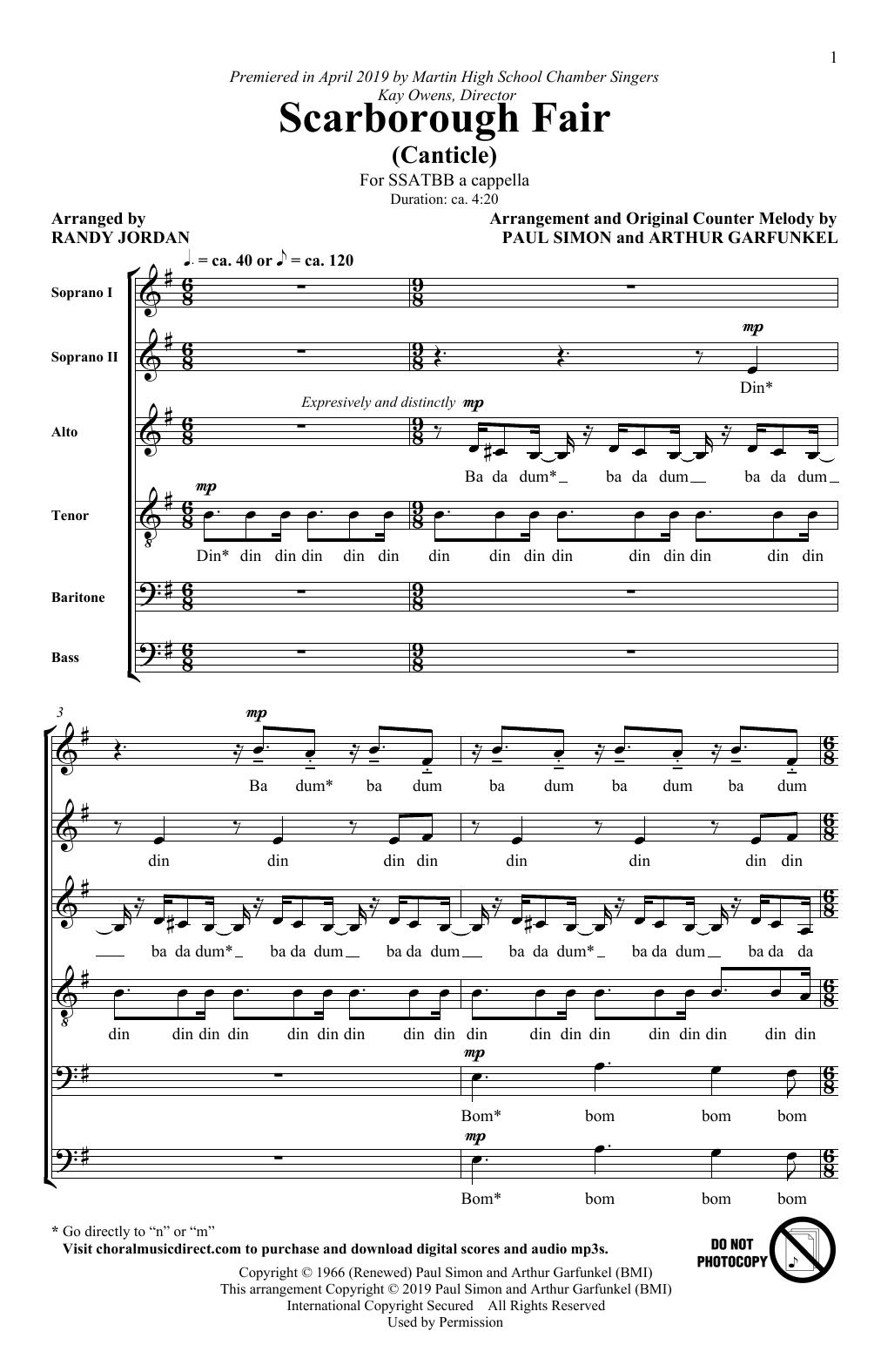Scarborough Fair/Canticle (arr. Randy Jordan) Sheet Music