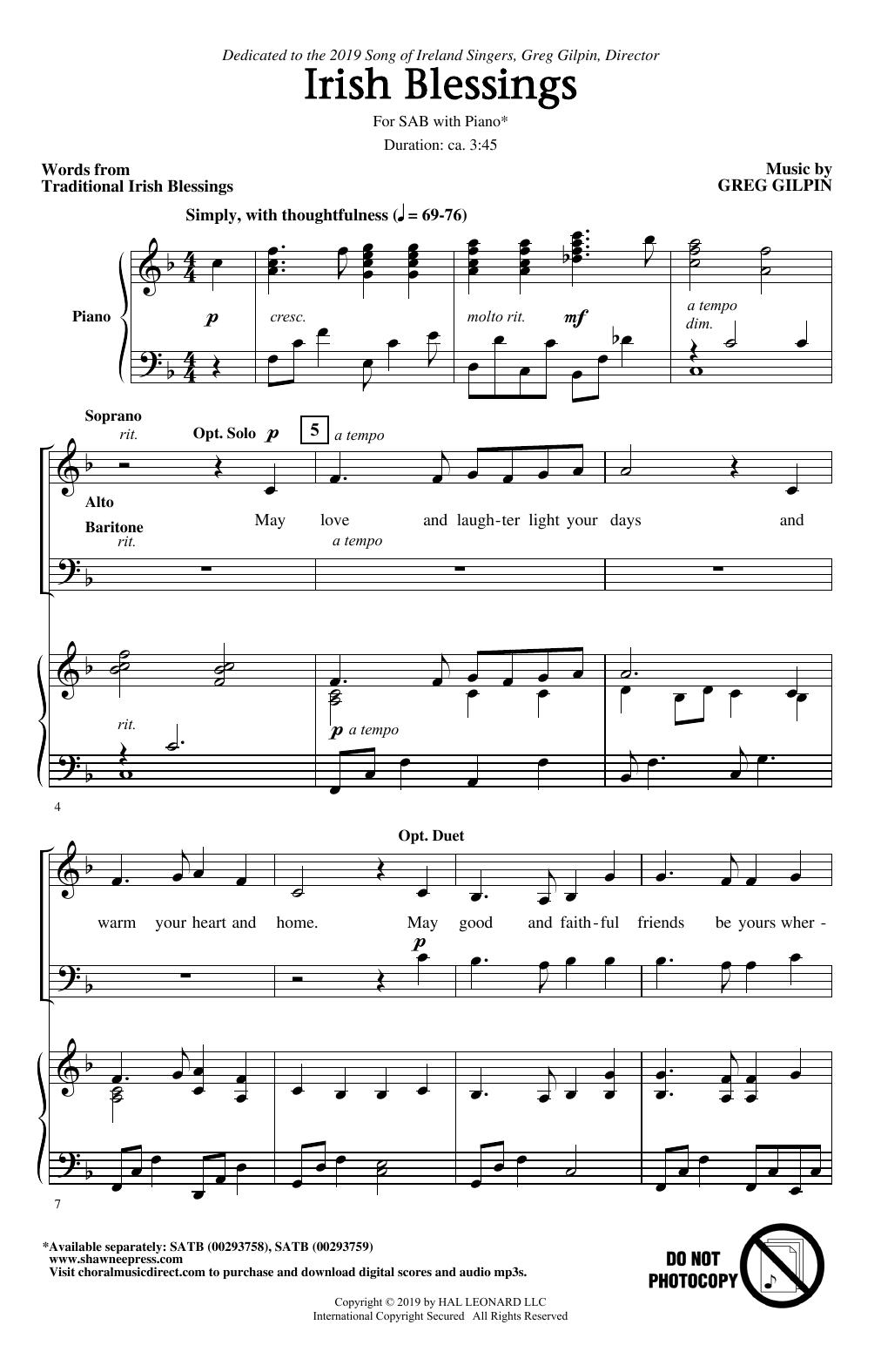 Irish Blessings (SAB Choir)
