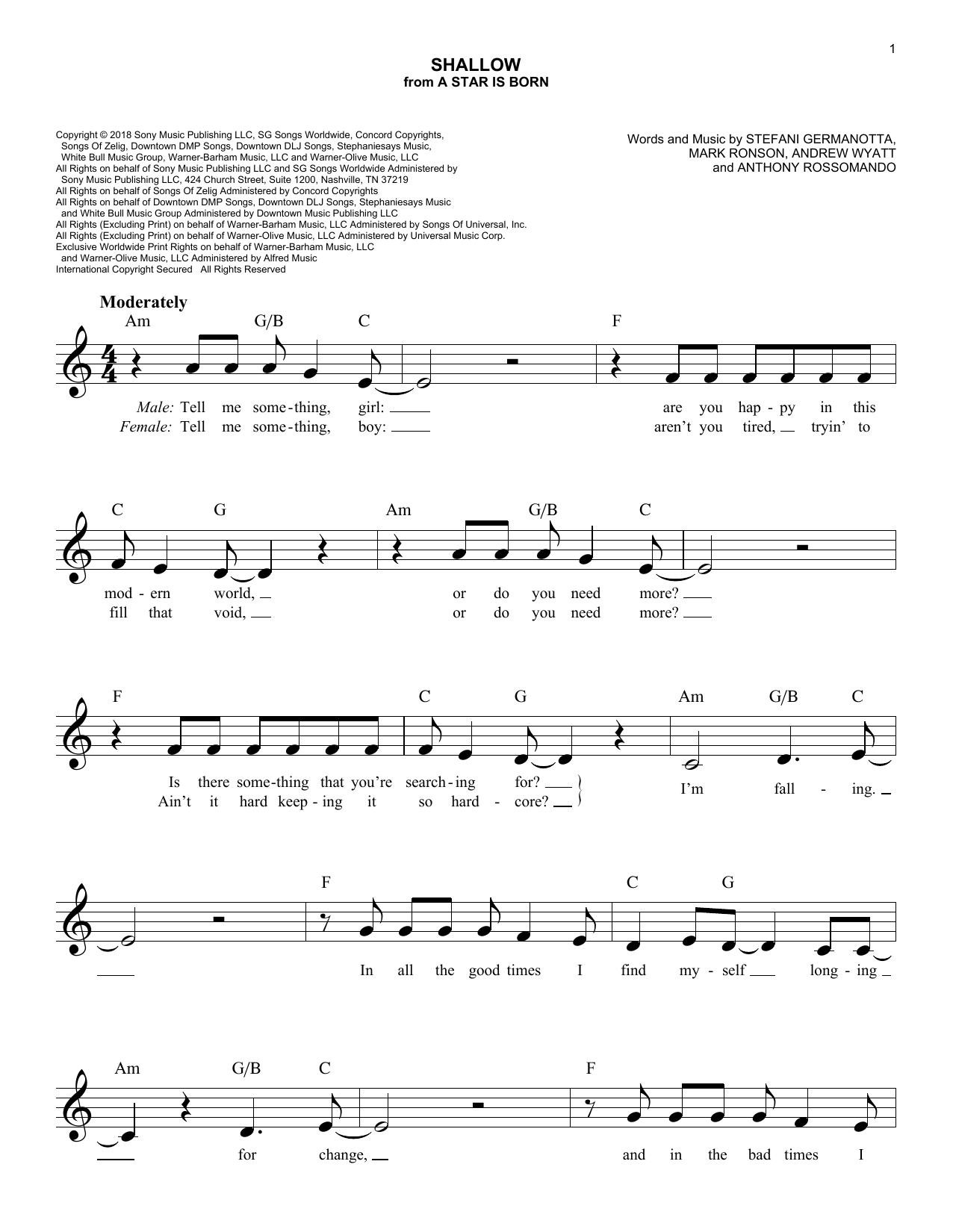 Shallow (from A Star Is Born) (Lead Sheet / Fake Book)