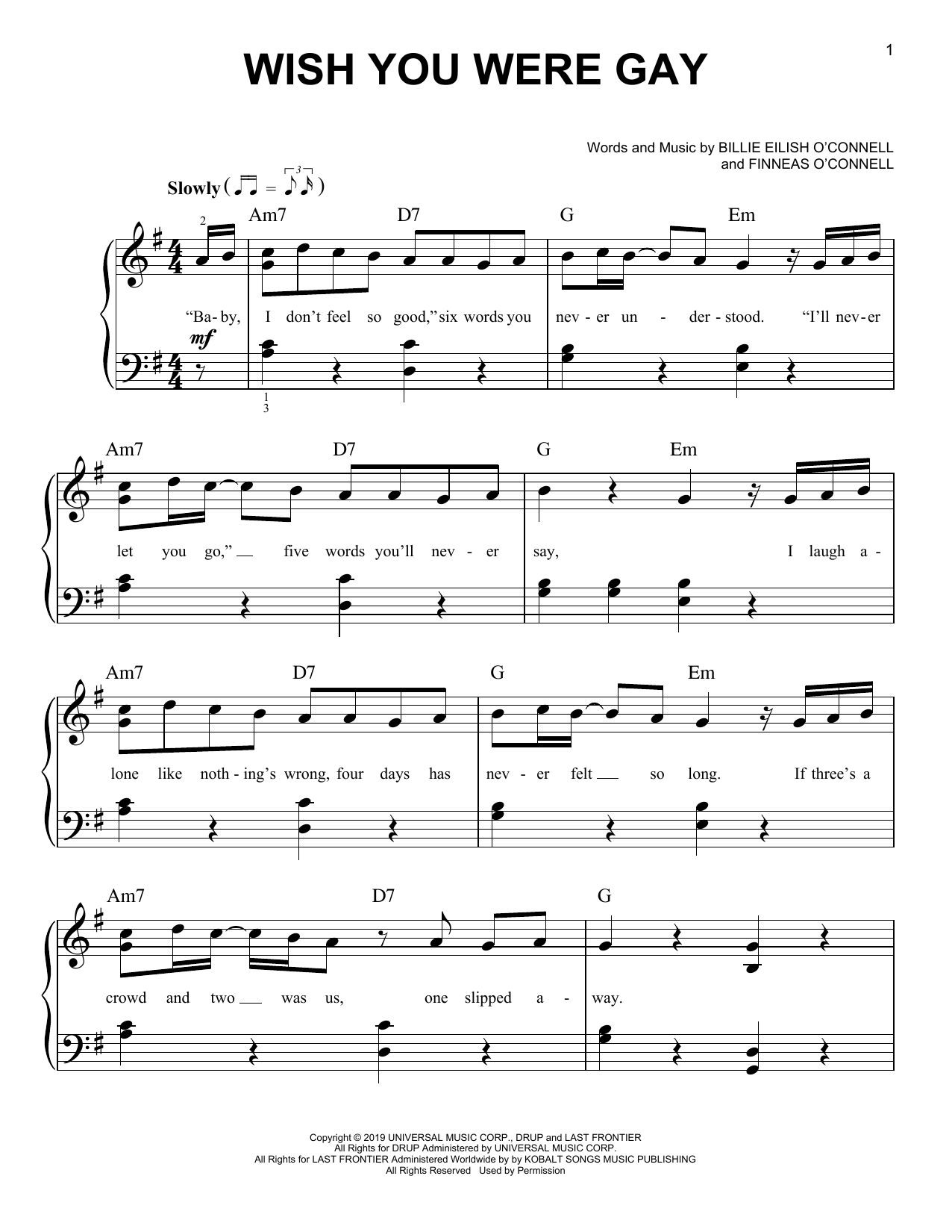 wish you were gay (Easy Piano)