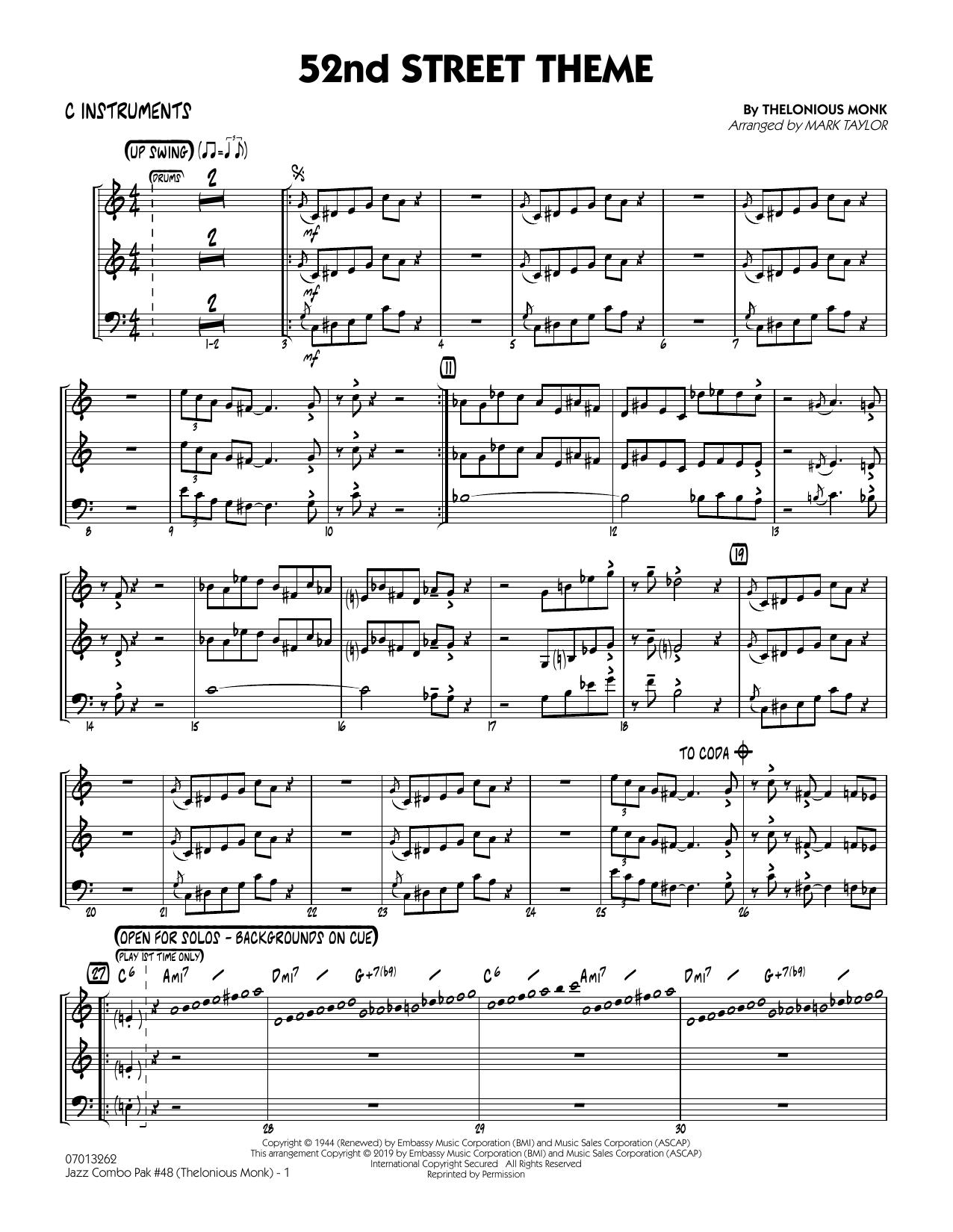 Jazz Combo Pak #48 (Thelonious Monk) (arr. Mark Taylor) - C Instruments (Jazz Ensemble)