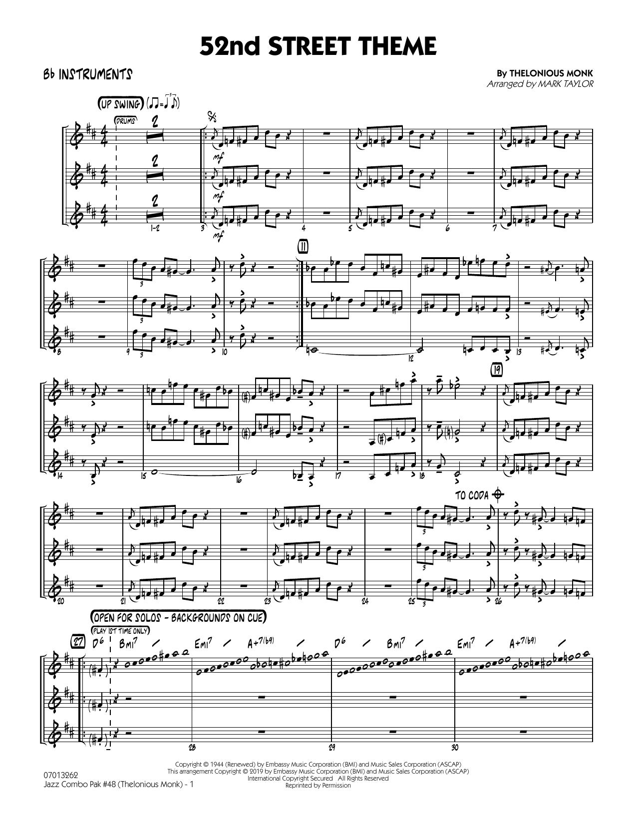 Jazz Combo Pak #48 (Thelonious Monk) (arr. Mark Taylor) - Bb Instruments (Jazz Ensemble)