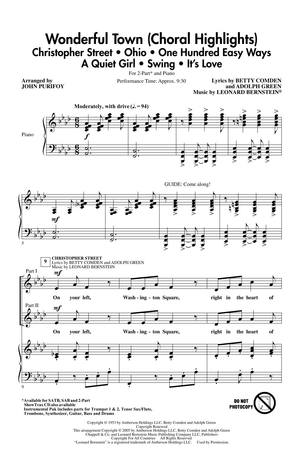 Wonderful Town (Choral Highlights) (arr. John Purifoy) (2-Part Choir)