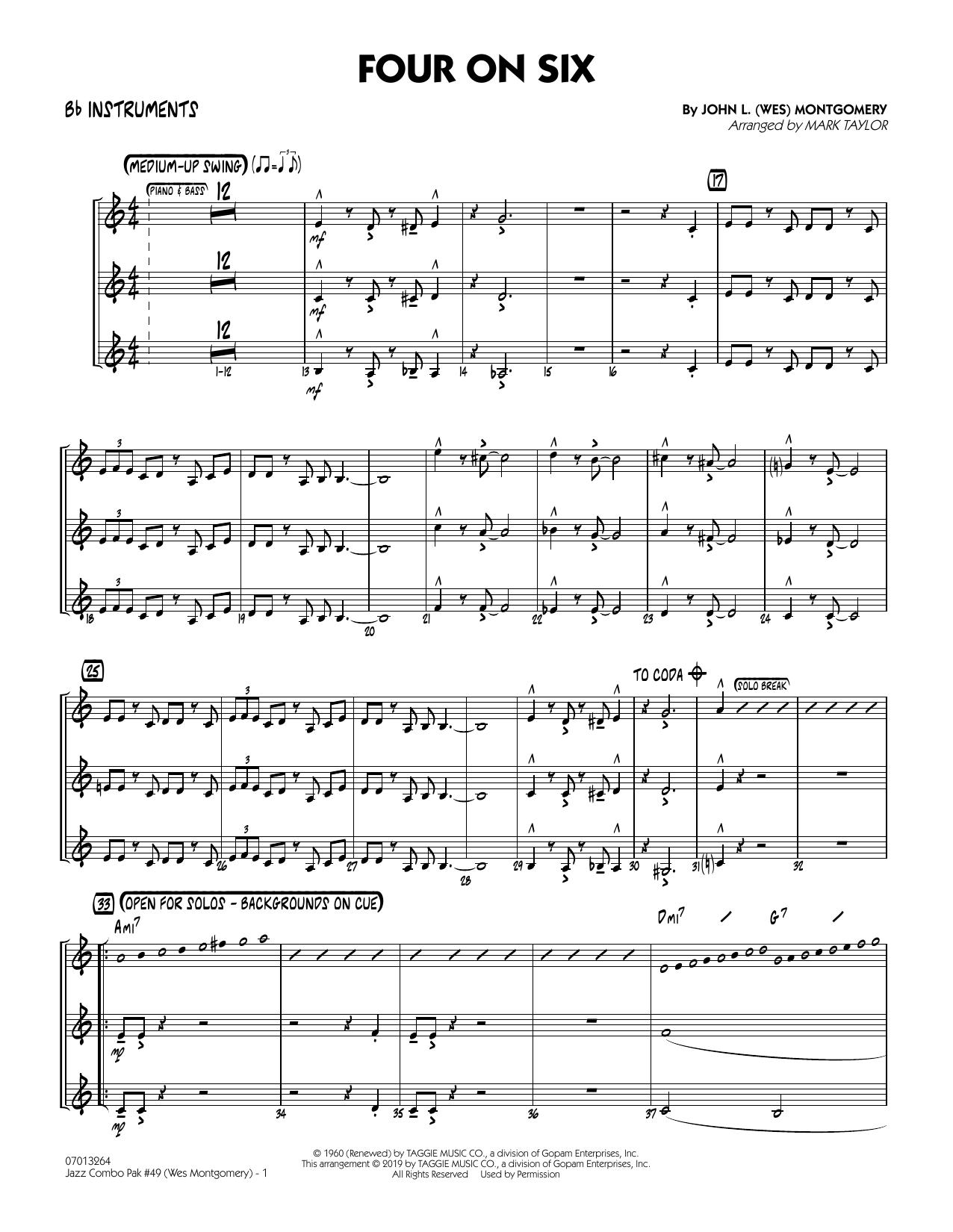 Jazz Combo Pak #49 (Wes Montgomery) (arr. Mark Taylor) - Bb Instruments (Jazz Ensemble)