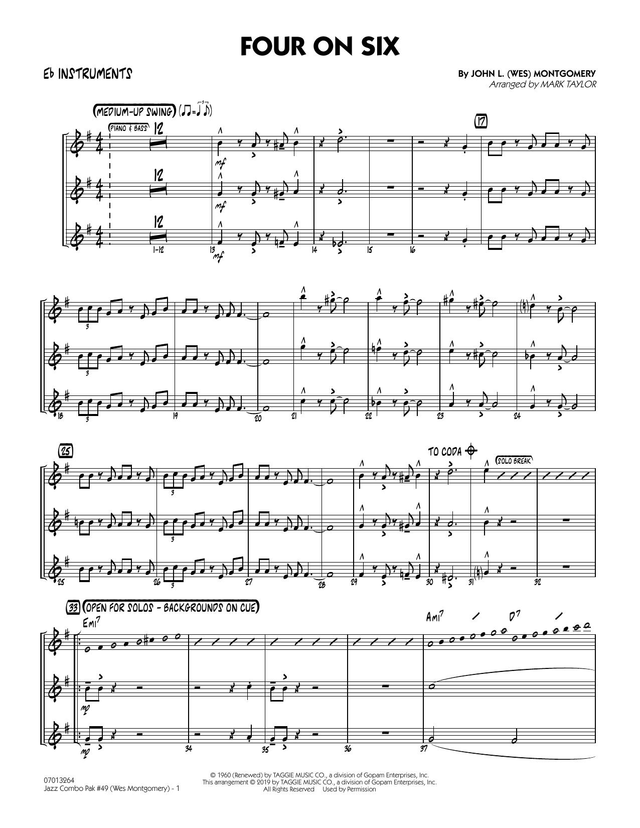 Jazz Combo Pak #49 (Wes Montgomery) (arr. Mark Taylor) - Eb Instruments (Jazz Ensemble)