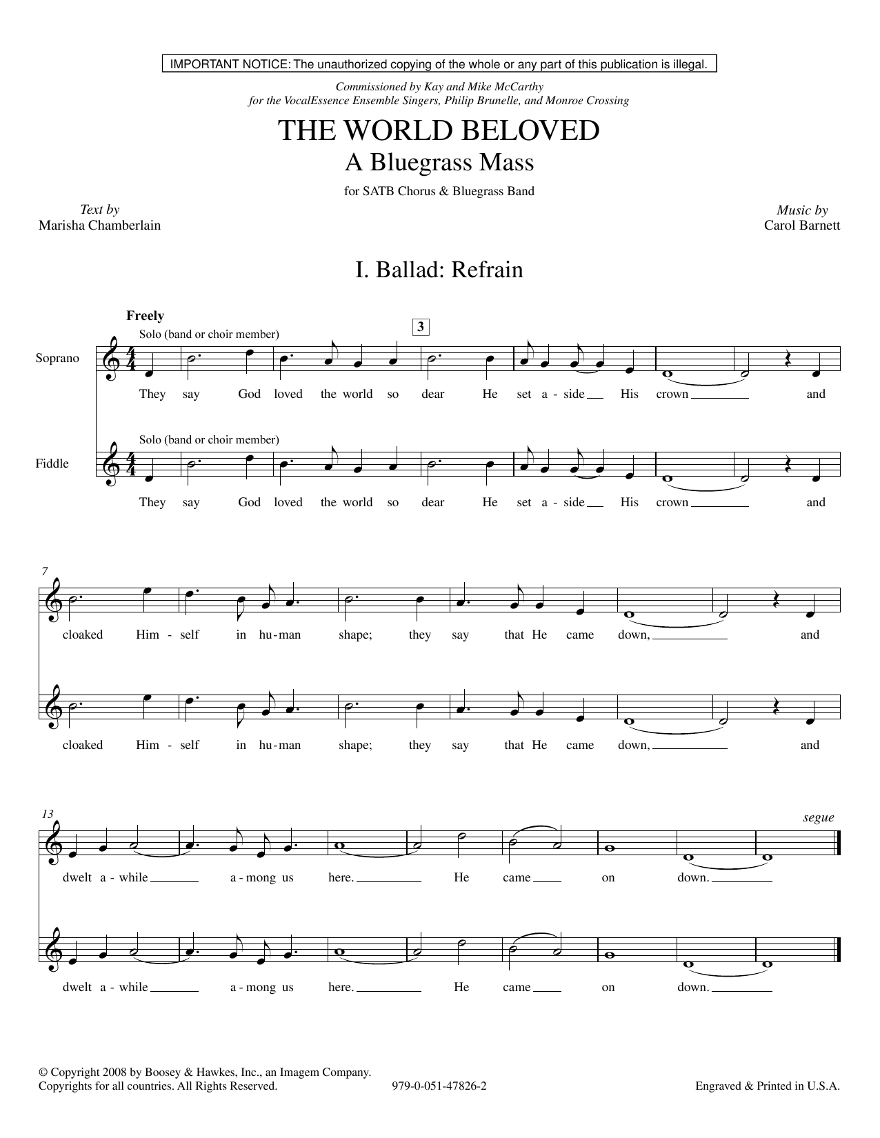 The World Beloved: A Bluegrass Mass - Full Score (Choir Instrumental Pak)