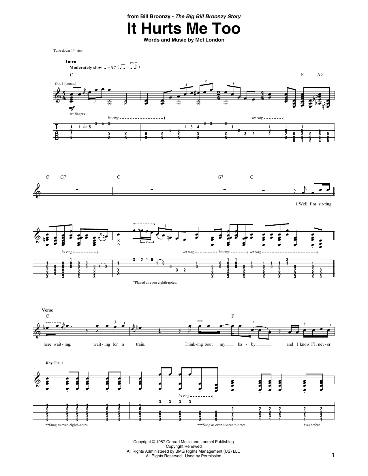 It Hurts Me Too (Guitar Tab)