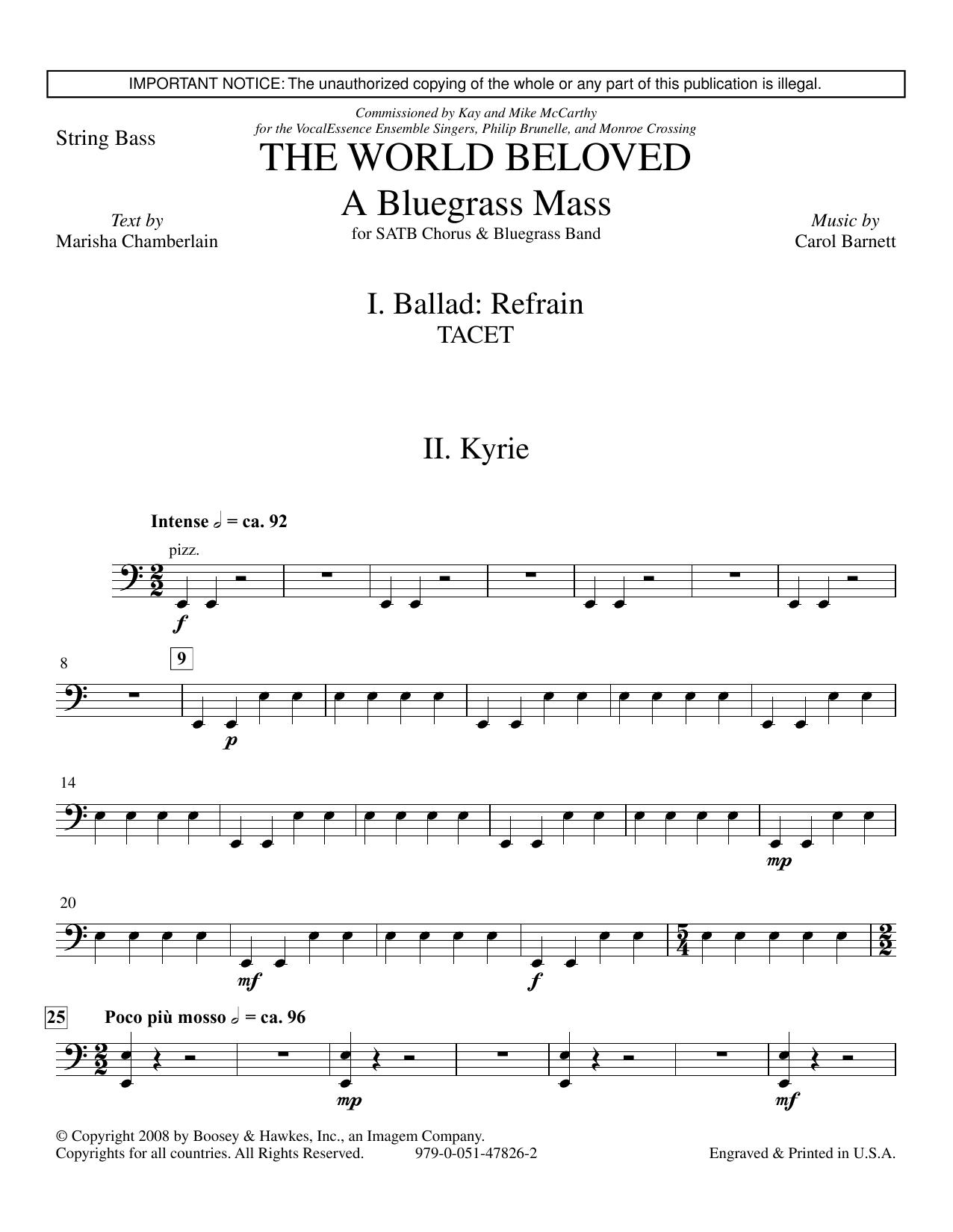 The World Beloved: A Bluegrass Mass - Bass Sheet Music