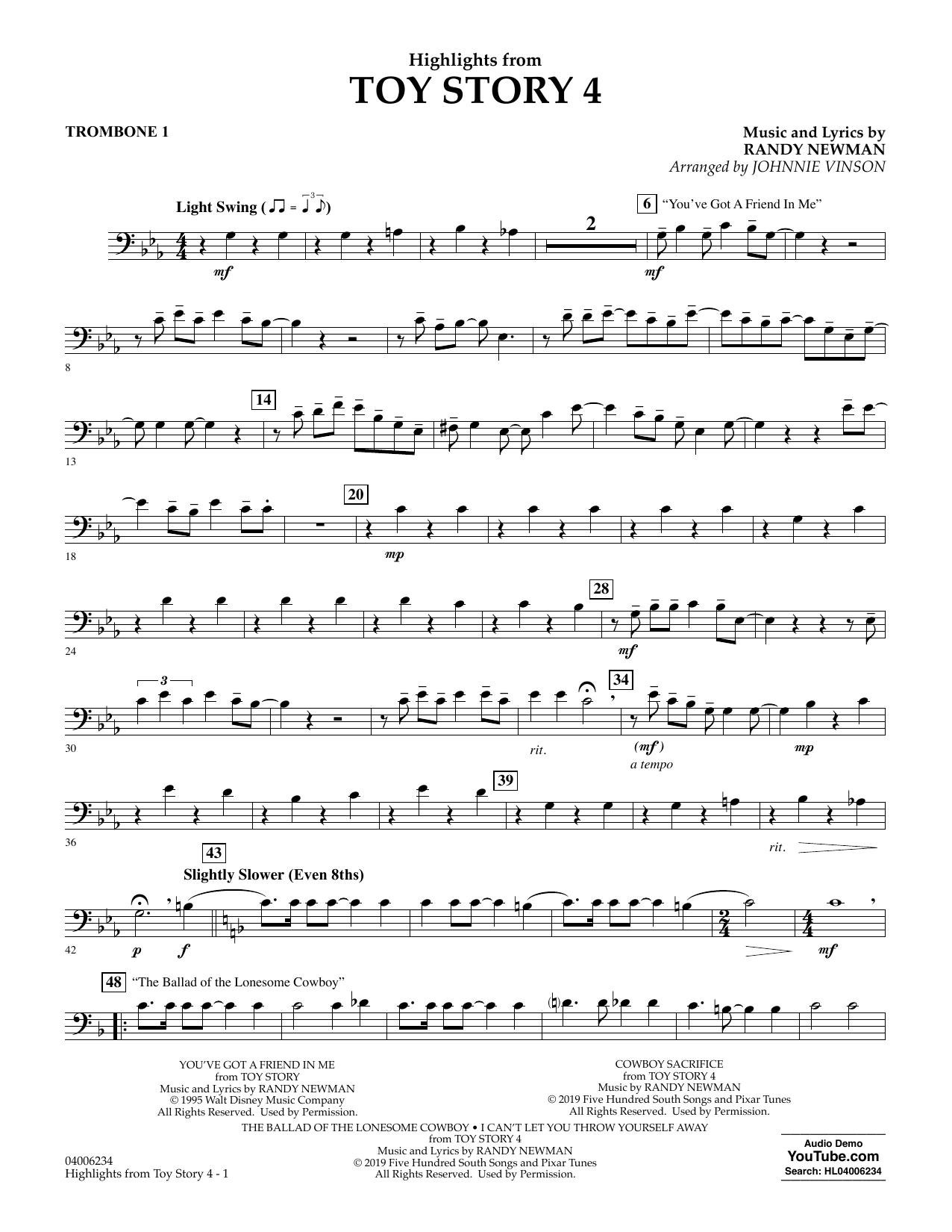 Highlights from Toy Story 4 (arr. Johnnie Vinson) - Trombone 1 (Concert Band)