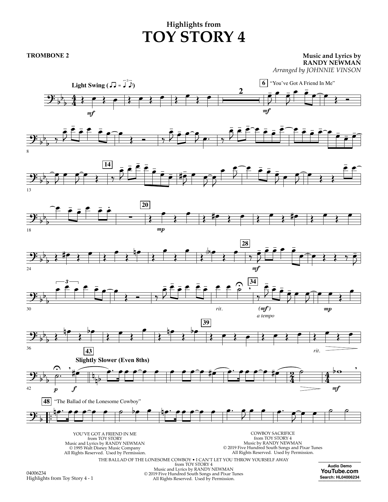 Highlights from Toy Story 4 (arr. Johnnie Vinson) - Trombone 2 (Concert Band)