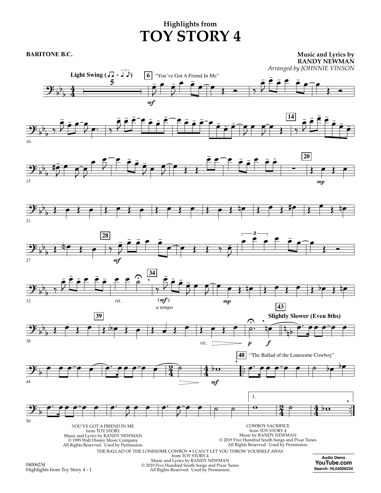 Highlights from Toy Story 4 (arr. Johnnie Vinson) - Baritone B.C. (Concert Band)