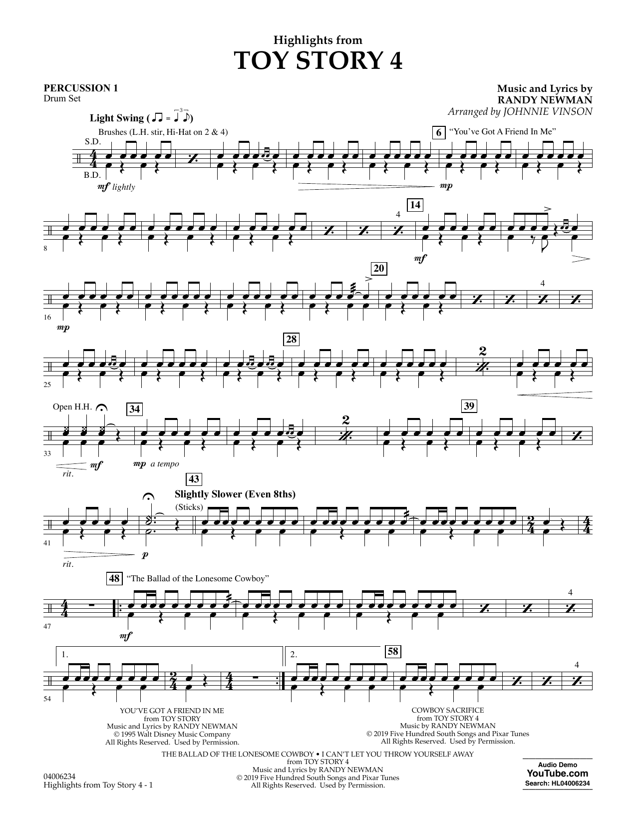 Highlights from Toy Story 4 (arr. Johnnie Vinson) - Percussion 1 (Concert Band)