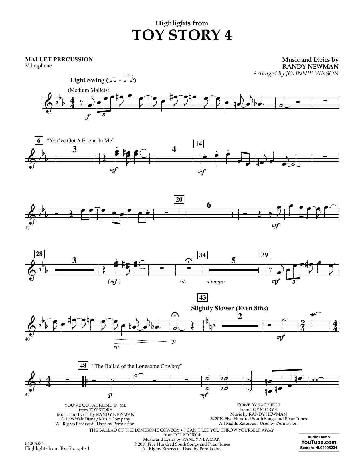 Highlights from Toy Story 4 (arr. Johnnie Vinson) - Mallet Percussion (Concert Band)