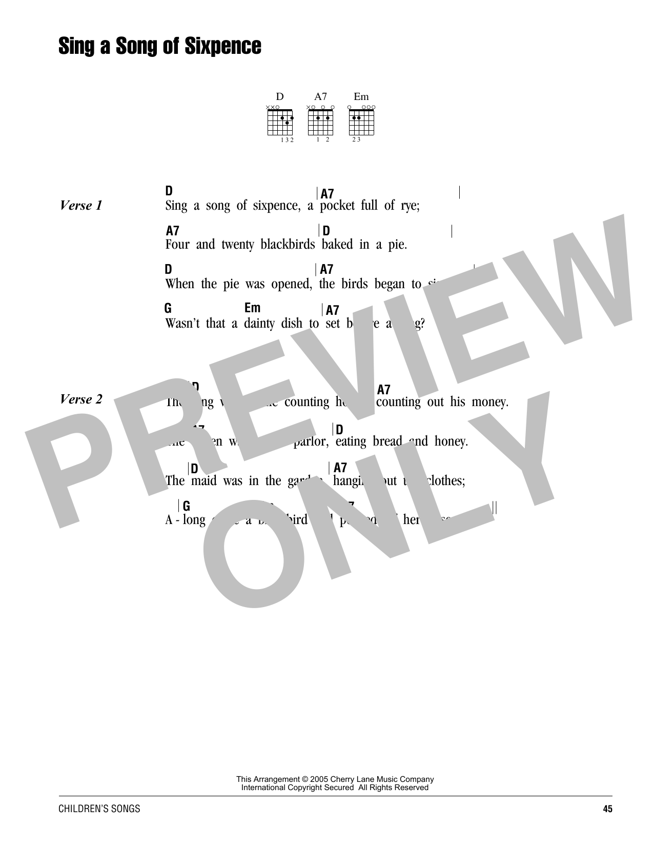 Sing A Song Of Sixpence Sheet Music