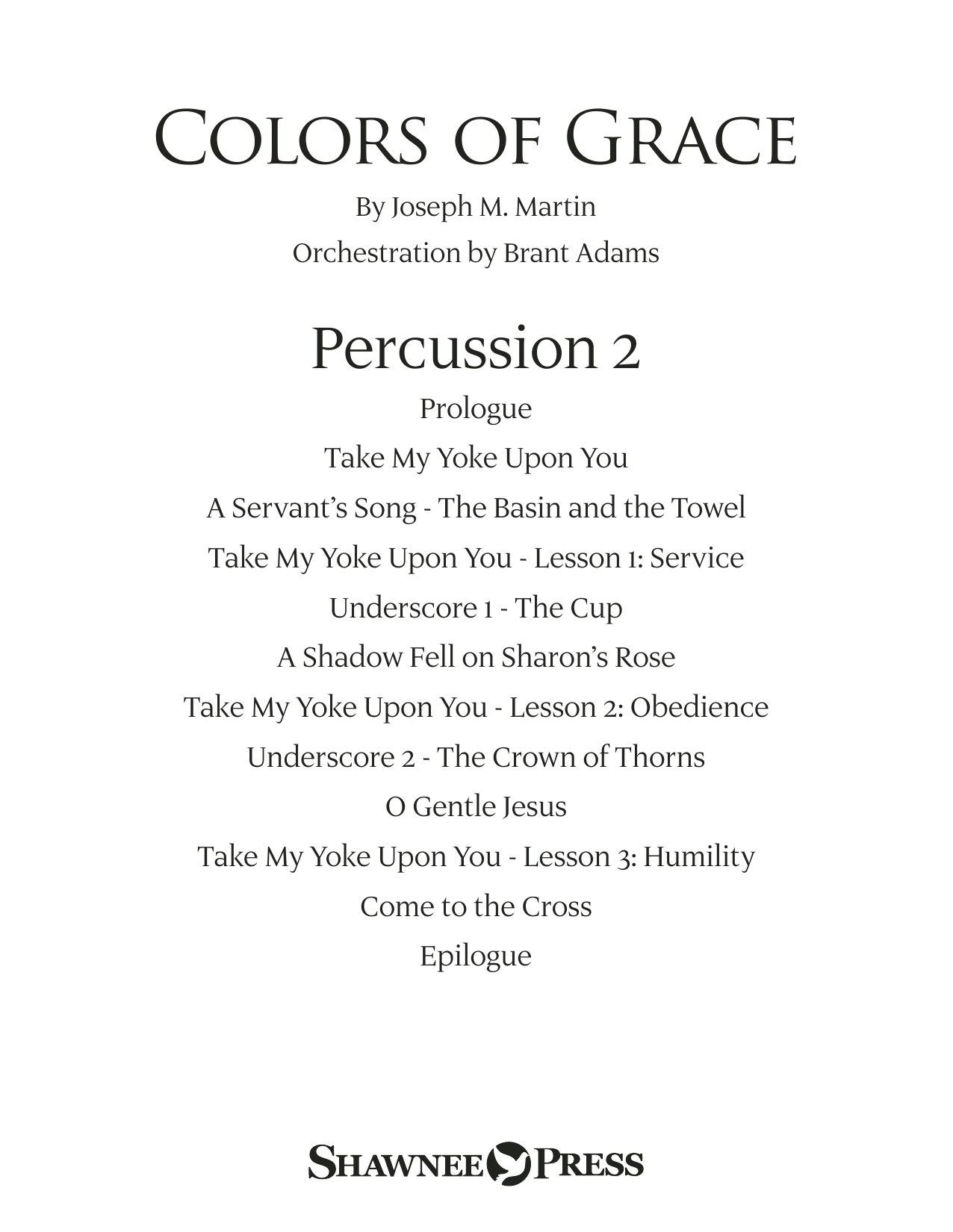 Colors of Grace - Lessons for Lent (New Edition) (Orchestra Accompaniment) - Percussion 2 (Choir Instrumental Pak)