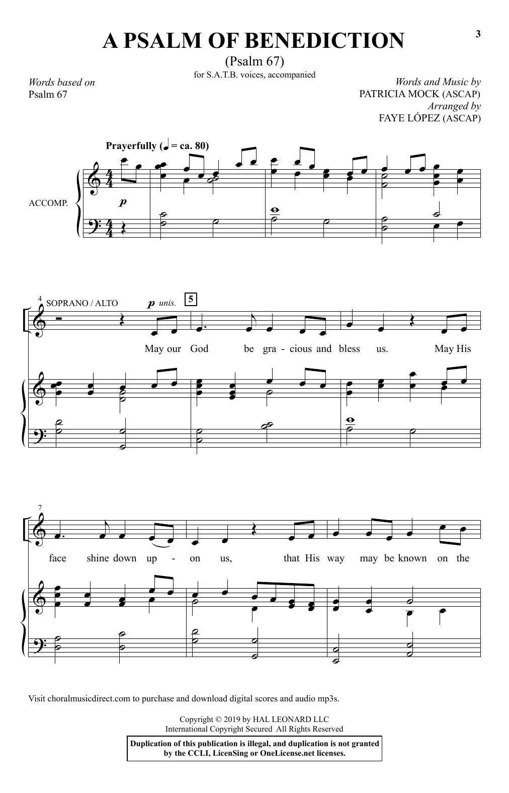 A Psalm Of Benediction (Psalm 67) (arr. Faye Lopez) (SATB Choir)