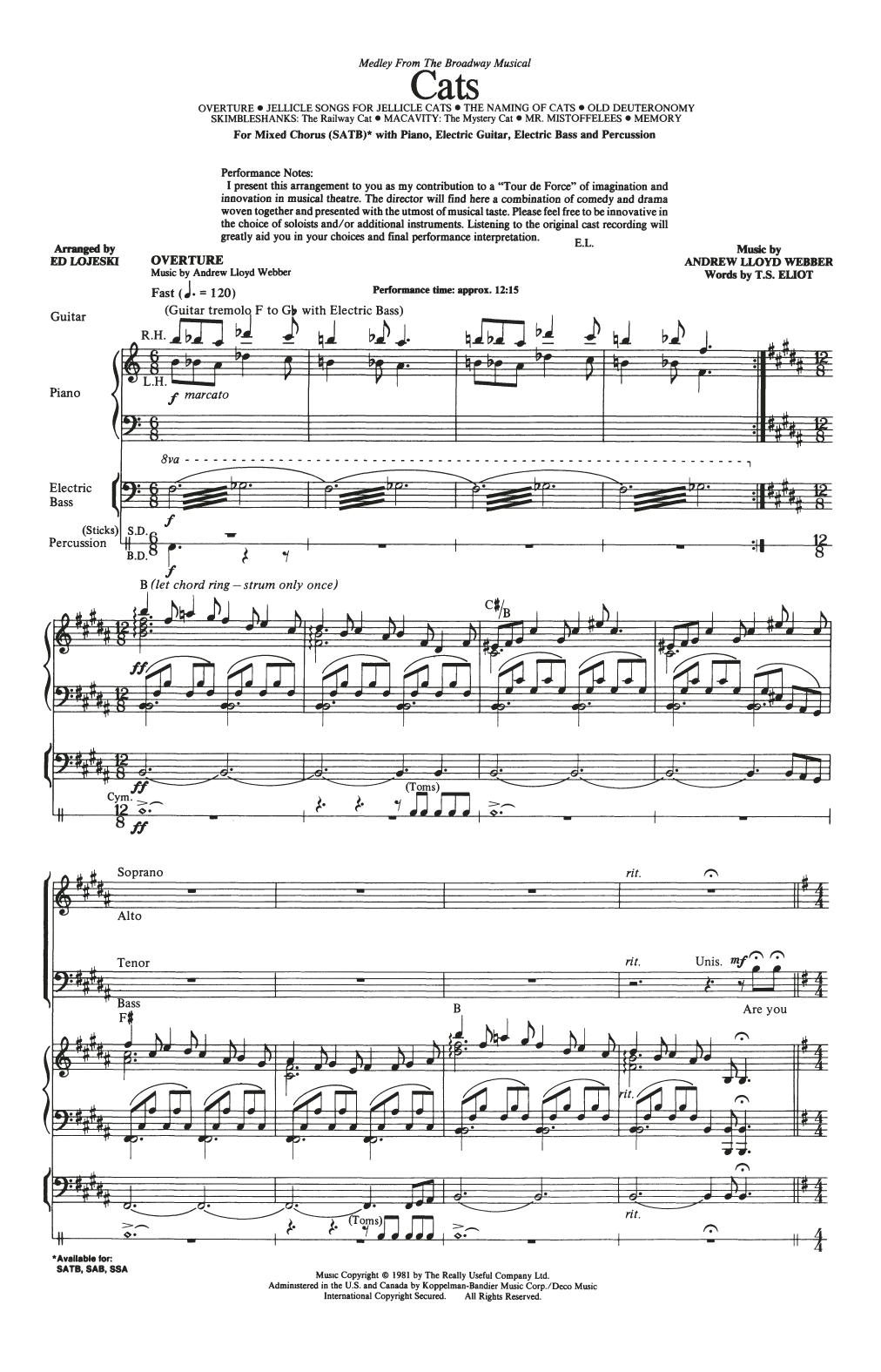Cats (Medley) (arr. Ed Lojeski) (SATB Choir)