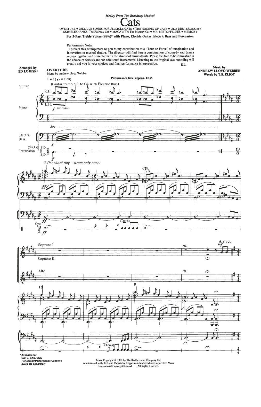 Cats (Medley) (arr. Ed Lojeski) (SSA Choir)