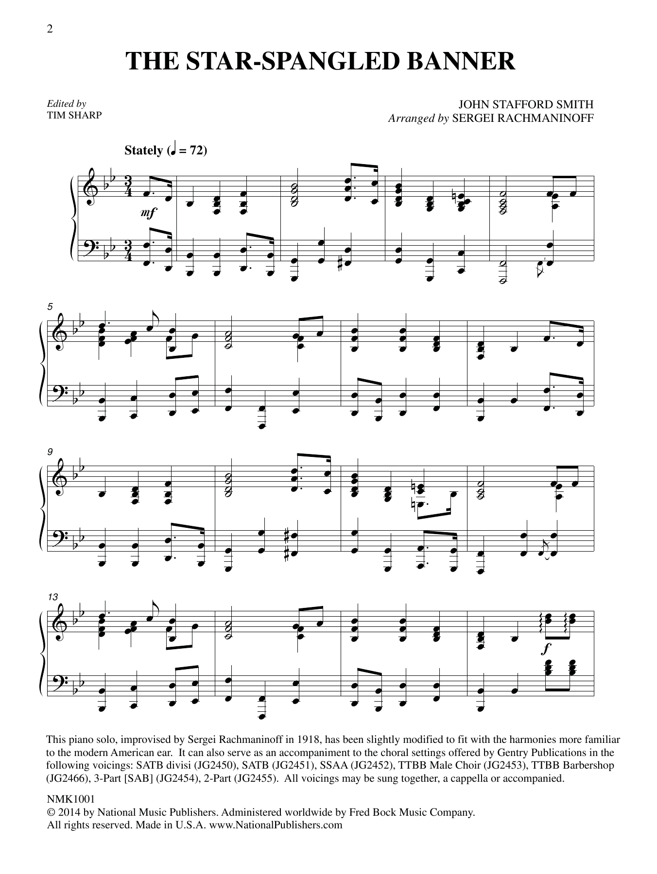 The Star Spangled Banner Arr Sergei Rachmaninoff Ed Tim Sharp Sheet Music Francis Scott Key And John Stafford Smith Piano Solo