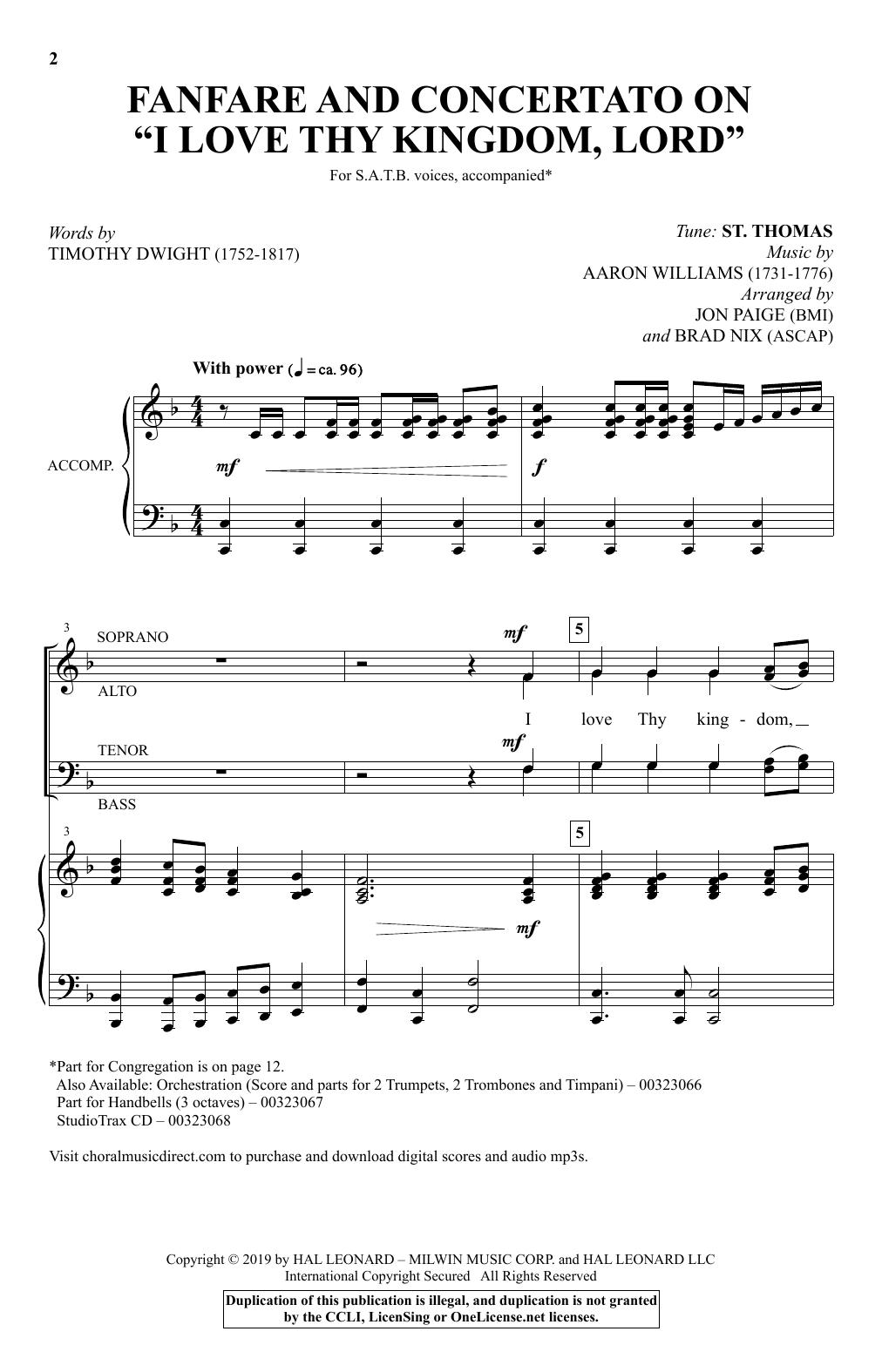 "Fanfare And Concertato On ""I Love Thy Kingdom, Lord"" (arr. Jon Paige and Brad Nix) (SATB Choir)"