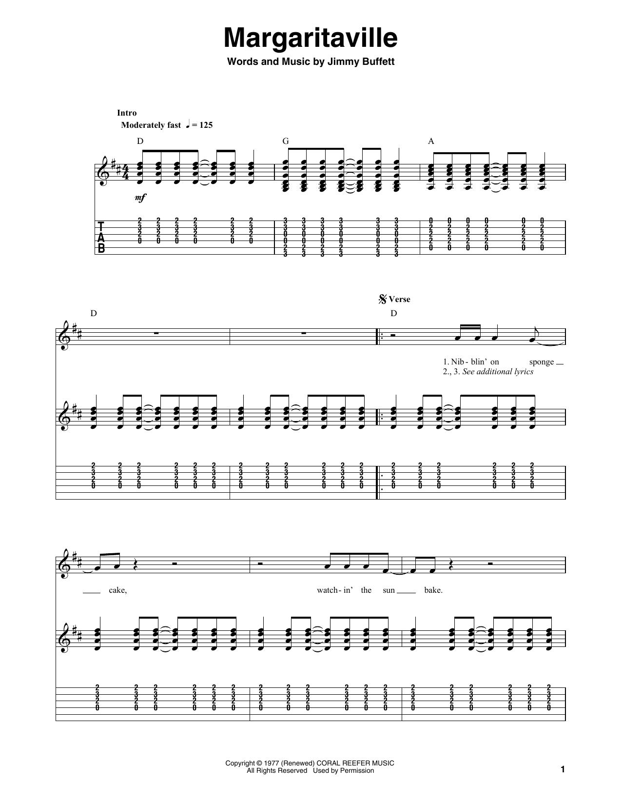 Margaritaville (Guitar Tab (Single Guitar))
