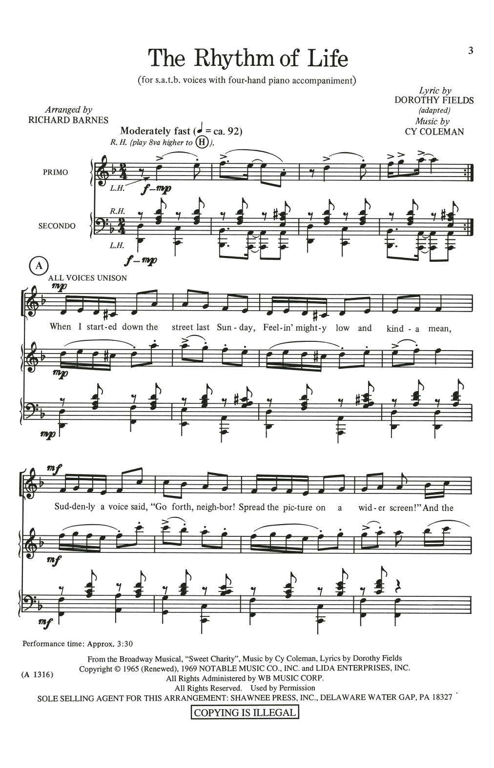 The Rhythm Of Life (from Sweet Charity) (arr. Richard Barnes) Partituras Digitales