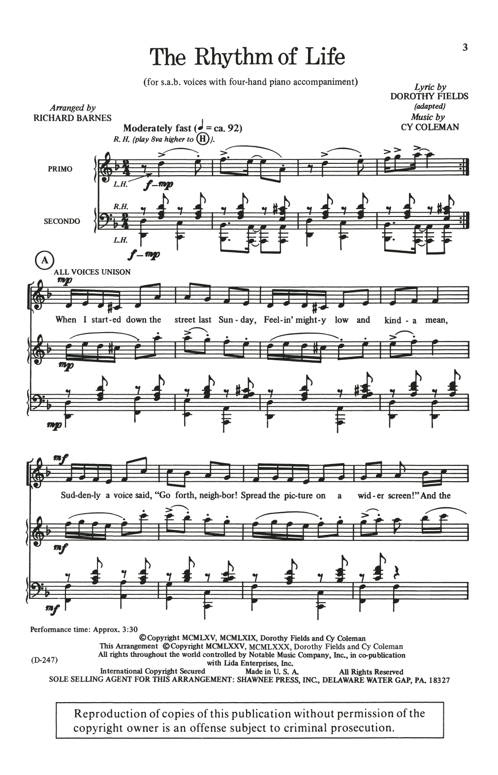 The Rhythm Of Life (from Sweet Charity) (arr. Richard Barnes) Sheet Music