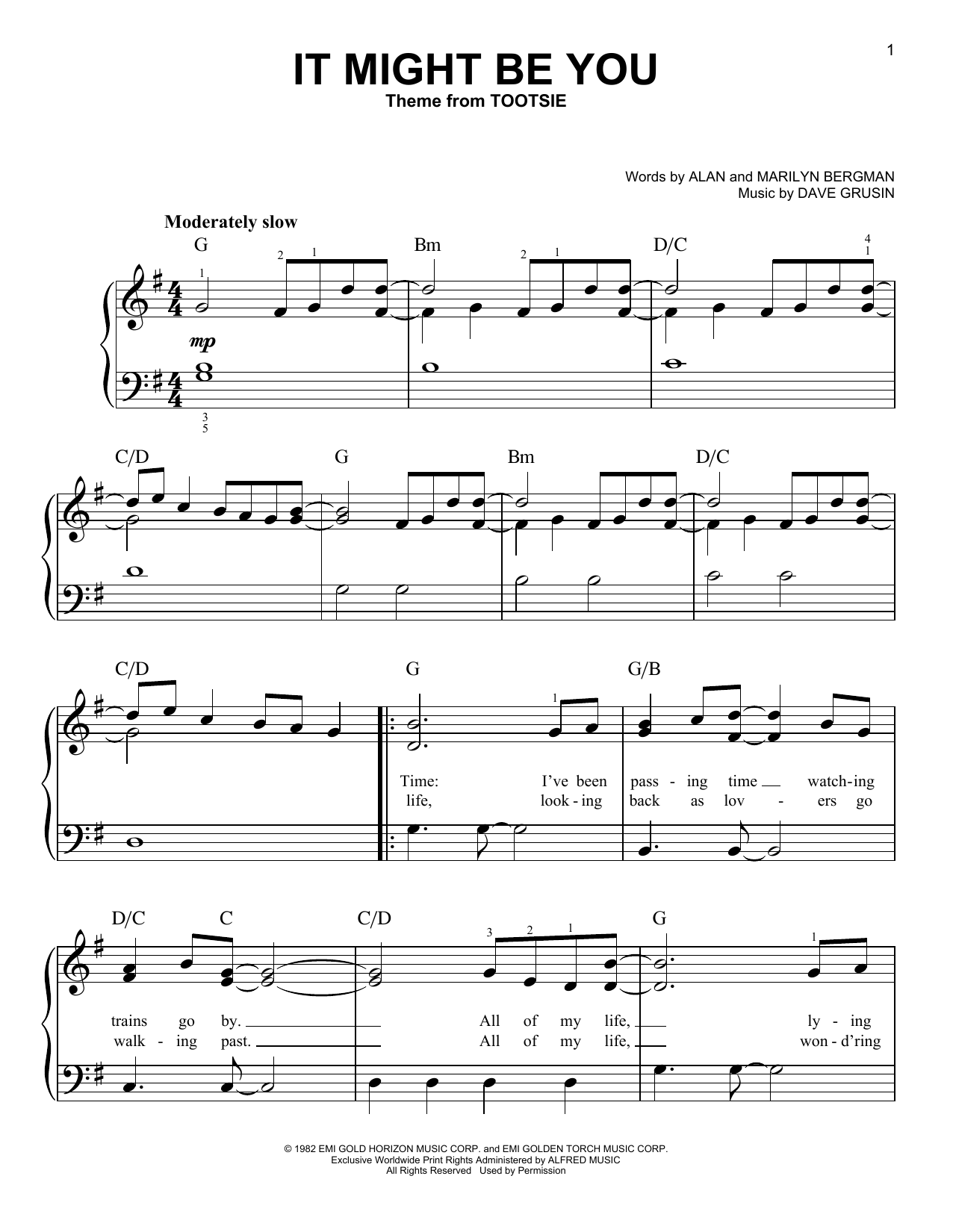 Partition piano It Might Be You (from Tootsie) de Dave Grusin - Piano Facile