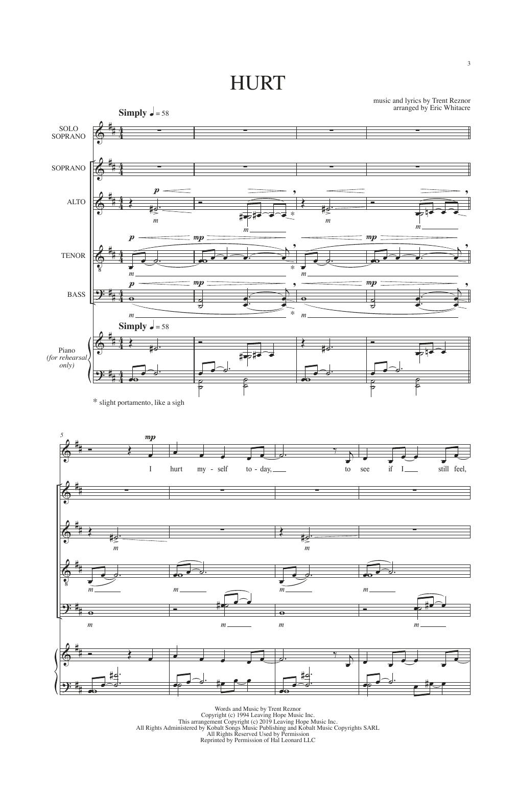 Hurt (arr. Eric Whitacre) Partituras Digitales