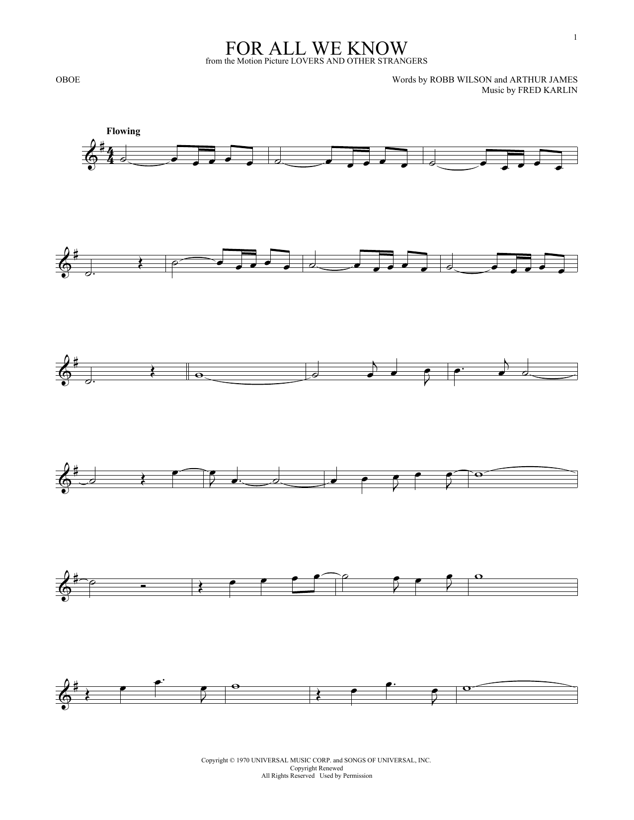 For All We Know (Oboe Solo)