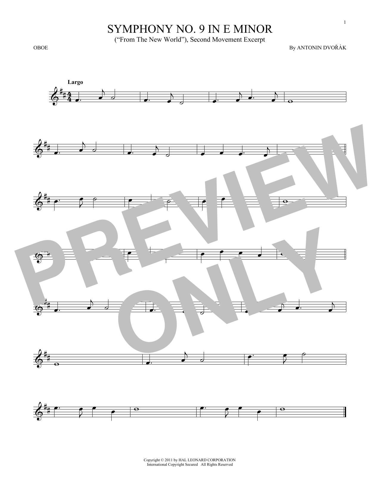 Symphony No. 9 In E Minor (From The New World), Second Movement Excerpt (Oboe Solo)