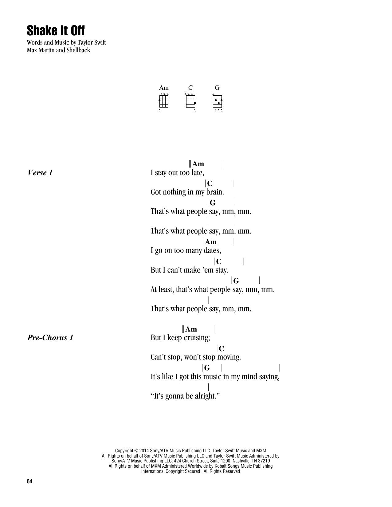 Shake It Off (Ukulele Chords/Lyrics)