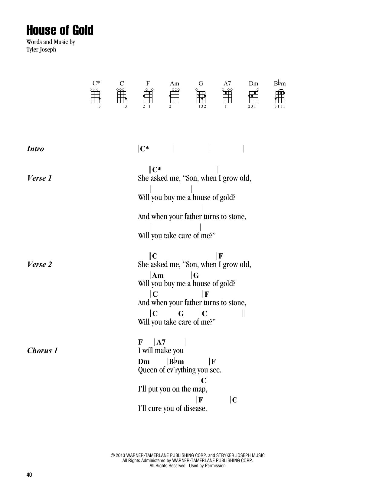 Ongekend House Of Gold Sheet Music | Twenty One Pilots | Ukulele Chords AE-76