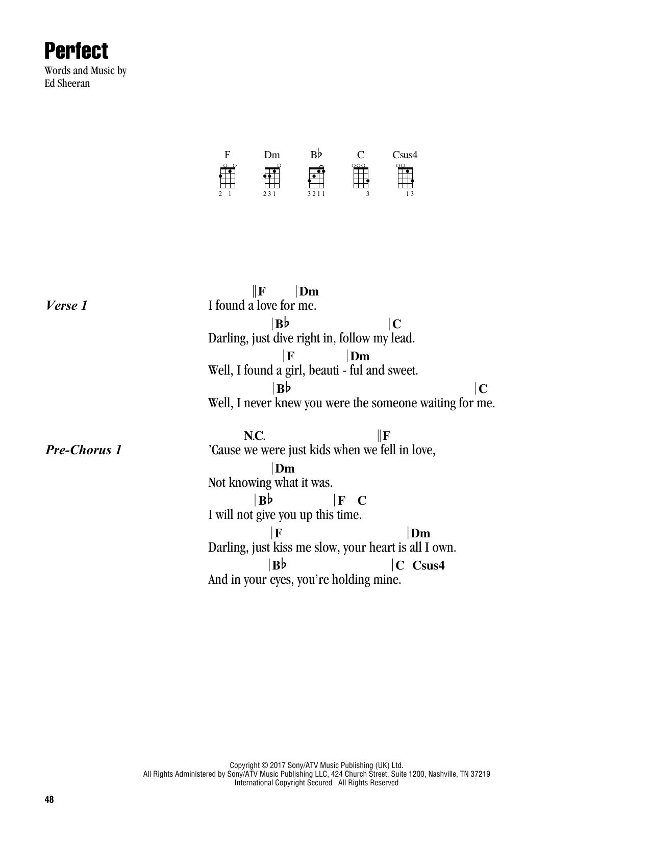 Perfect Noten   Ed Sheeran   Ukulele Akkorde/Liedtexte