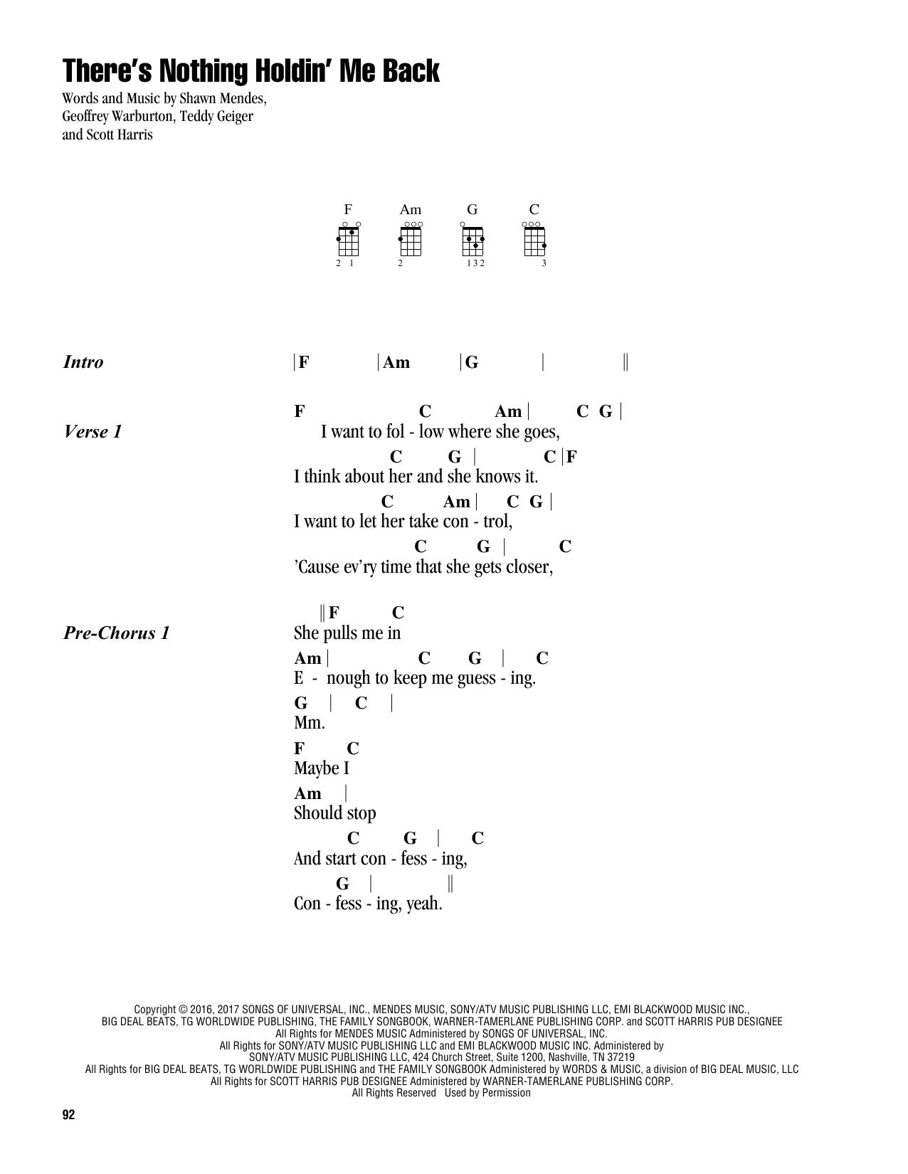 There S Nothing Holdin Me Back Sheet Music Shawn Mendes Ukulele Chords Lyrics