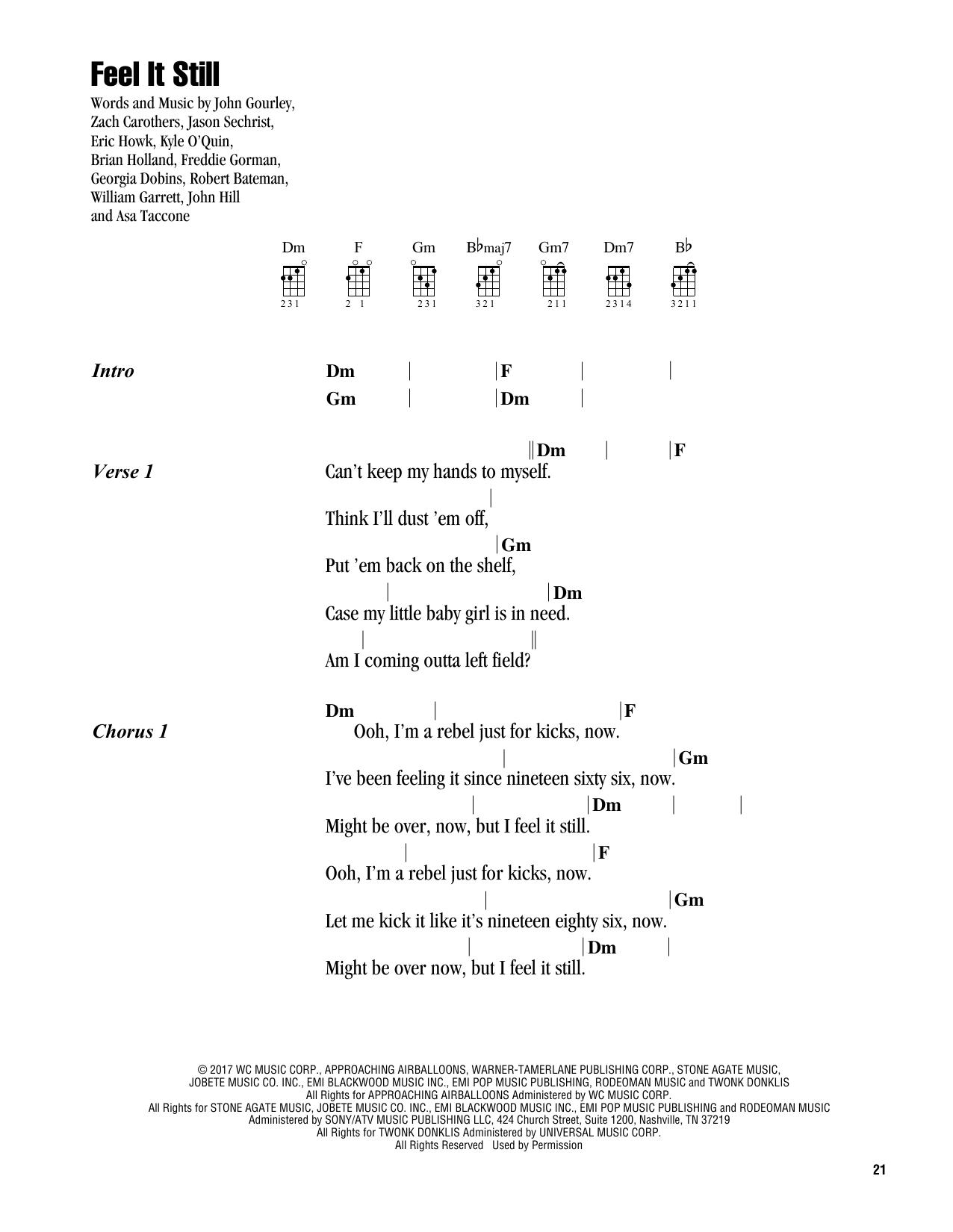 Feel It Still (Ukulele Chords/Lyrics)