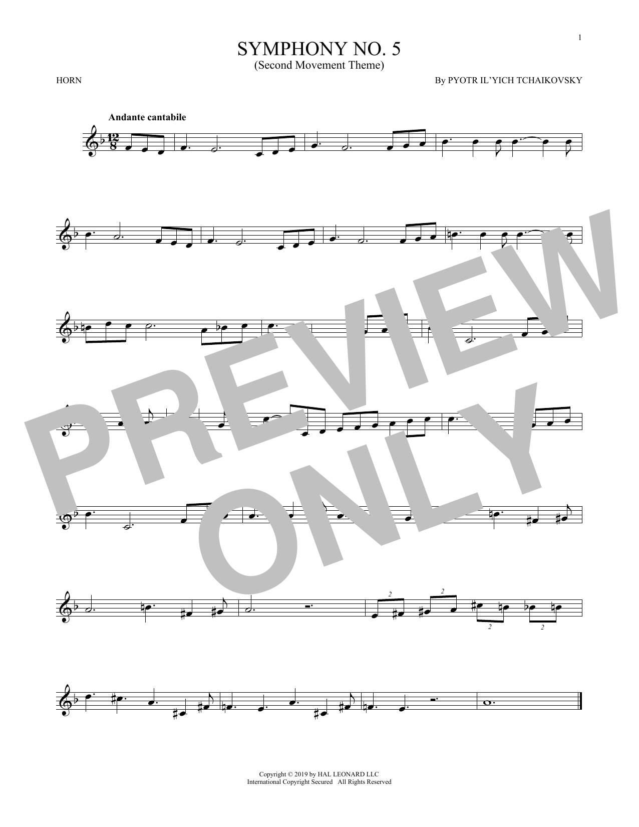 Symphony No. 5 (2nd Movement: Andante) (French Horn Solo)