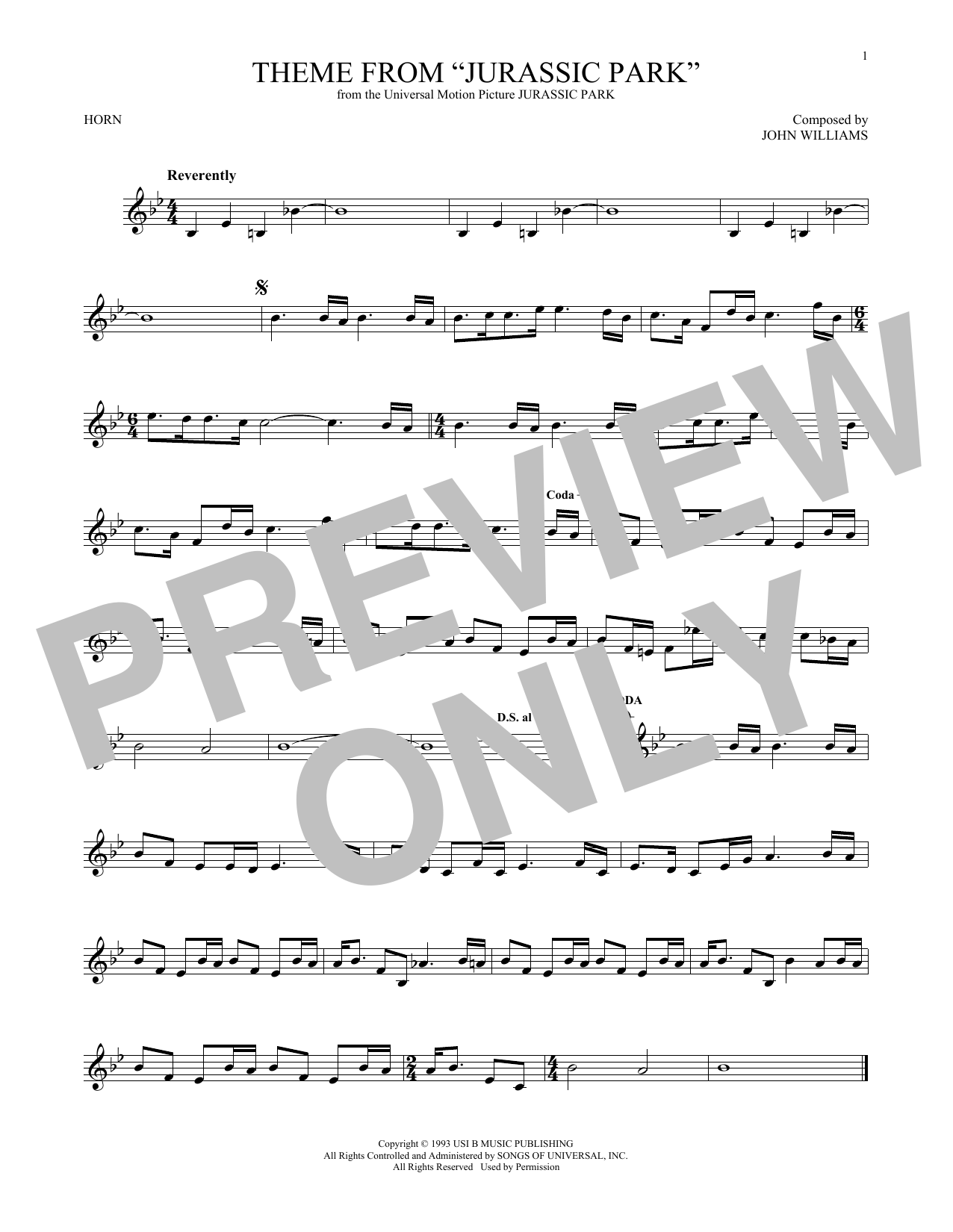 Theme From Jurassic Park (French Horn Solo)